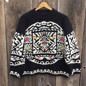 VTG 80s-90s Bold Graphic Knit Crewneck Sweater, L